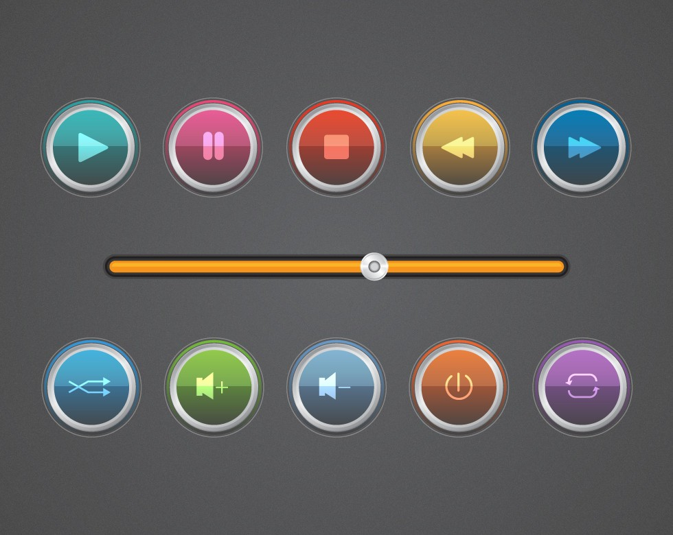 Glossy Music Player Controls